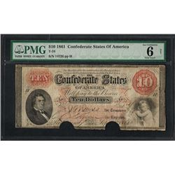1861 $10 Confederate States of America Note T-24 PMG Very Good 6 Net Canceled