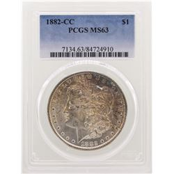 1882-CC $1 Morgan Silver Dollar Coin PCGS MS63 Nice Toning