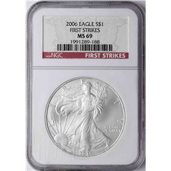 2006 $1 American Silver Eagle Coin NGC MS69 First Strikes