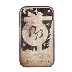 1975 Happy New Year Madison Mint 1 oz .999 Fine Silver Art Bar