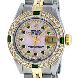 Rolex Ladies Two Tone 14K MOP Diamond & Emerald Datejust Watch