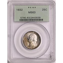 1932 Washington Quarter Coin PCGS MS63