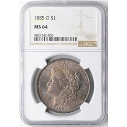 1885-O $1 Morgan Silver Dollar Coin NGC MS64 AMAZING TONING