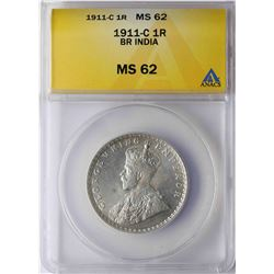 1911-C India Rupee Silver Coin ANACS MS62