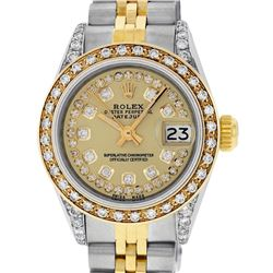 Rolex Ladies Two Tone 14K Champagne Diamond Lugs Datejust Watch