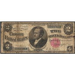 1891 $2 Windom Silver Certificate Note - Splits & Tears