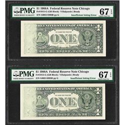 (2) Consecutive 1988A $1 Federal Reserve Notes Insufficient Ink ERROR PMG Superb