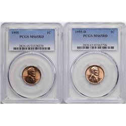 Lot of 1955 & 1955-D Lincoln Wheat Cent Coins PCGS MS65RD