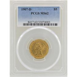1907-D $5 Liberty Head Half Eagle Gold Coin PCGS MS62