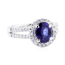 18KT White Gold 1.82 ctw Sapphire and Diamond Ring
