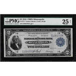 1918 $2 Battleship Federal Reserve Bank Note Minneapolis Fr.772 PMG Very Fine 25