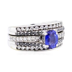 14KT White Gold 1.81 ctw Sapphire and Diamond Ring