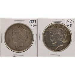 Lot of (2) 1927-D $1 Peace Silver Dollar Coins