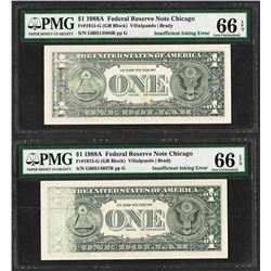 Lot of (2) 1988A $1 Federal Reserve Notes Insufficient Inking ERROR PMG Gem Unc.