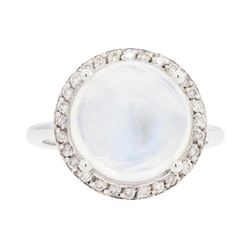 14KT White Gold Lady's 6.93 ctw Moonstone and Diamond Ring