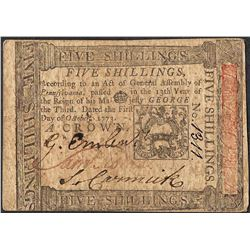 October 1, 1773 Pennsylvania Five Shillings Colonial Currency Note