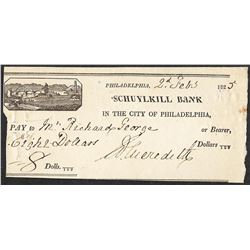 1825 Schuylkill Bank Obsolete Note- Cut Canceled