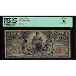 1896 $2 Educational Silver Certificate Note Fr.247 PCGS Good 6 Apparent