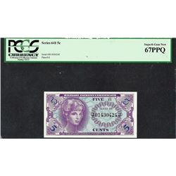 Series 641 Five Cent Military Payment Certificate Note PCGS Superb Gem New 67PPQ