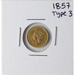 1857 $1 Type 3 Indian Head Gold Dollar Coin
