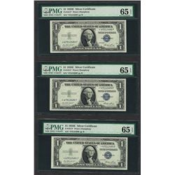 Lot of (3) Consecutive 1935E $1 Silver Certificate STAR Notes PMG Gem Unc. 65EPQ
