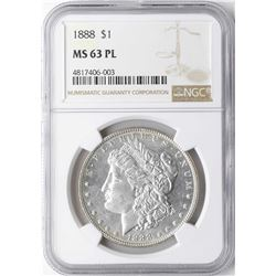 1888 $1 Morgan Silver Dollar Coin NGC MS63PL