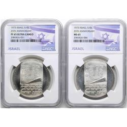 Lot of (2) 1973 Israel 10 Lirot Silver Coins NGC PF66 Ultra Cameo