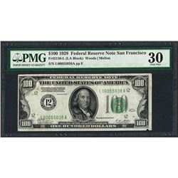 1928 $100 Federal Reserve Note San Francisco Fr.2150-L PMG Very Fine 30