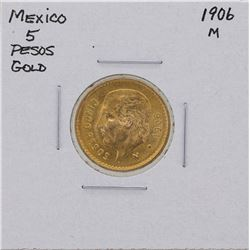 1906M Mexico 5 Pesos Gold Coin