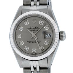 Rolex Ladies Stainless Steel Slate Grey Diamond 26MM Datejust Watch