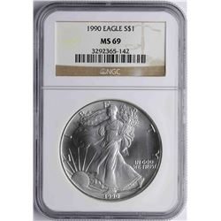 1990 $1 American Silver Eagle Coin NGC MS69