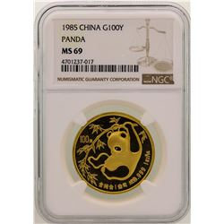 1985 China 100 Yuan Gold Panda Coin NGC MS69
