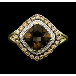 14KT Yellow Gold 2.00 ctw Smokey Quartz and Diamond Ring
