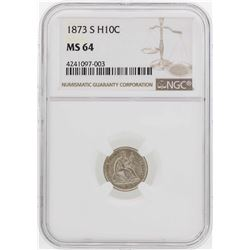 1873-S Seated Liberty Half Dime Coin NGC MS64