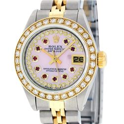 Rolex Ladies Two Tone 14K Pink MOP Ruby String Diamond Datejust Watch