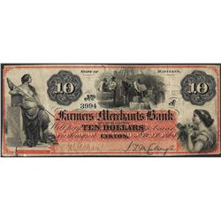 1864 $10 Farmers and Merchants Bank Elkton, MD Obsolete Note