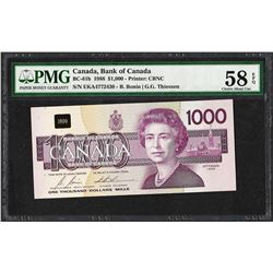1988 $1,000 Canada Bird Note BC-61b PMG Choice About Uncirculated 58EPQ