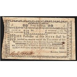 1775 New Hampshire Forty Shillings Colonial Currency Note