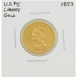 1853 $5 Liberty Head Half Eagle Gold Coin