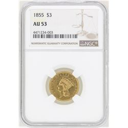 1855 $3 Indian Princess Head Gold Coin NGC AU53
