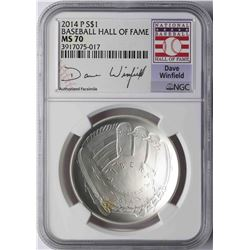 2014-P $1 Baseball Hall of Fame Coin NGC MS70 Dave Winfield