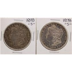Lot of (2) 1878-S $1 Morgan Silver Dollar Coins