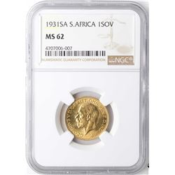 1931SA South Africa Sovereign Gold Coin NGC MS62