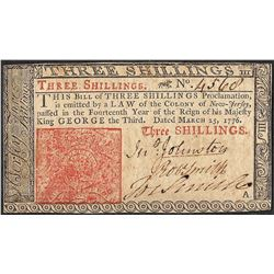 March 25, 1776 New Jersey Three Shillings Colonial Currency Note