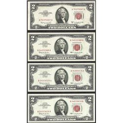 Lot of (4) 1953 $2 Legal Tender Notes