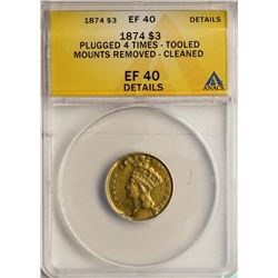 1874 $3 Indian Princess Head Gold Coin ANACS EF40 Details