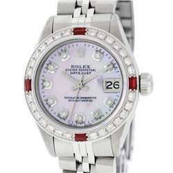Rolex Ladies Stainless Steel Pink MOP Diamond & Ruby Datejust Watch