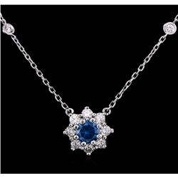 14KT White Gold 1.26 ctw Fancy Blue Diamond Necklace