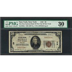 1929 $20 National Currency Note New York, New York CH# 29 PMG Very Fine 30