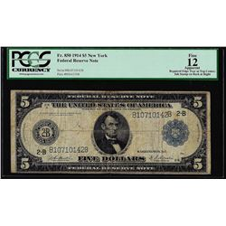 1914 $5 Federal Reserve Note New York Fr.850 PCGS Fine 12 Apparent